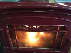 薪ストーブの低温炭化