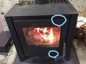 薪ストーブ空気調整レバーの使い方