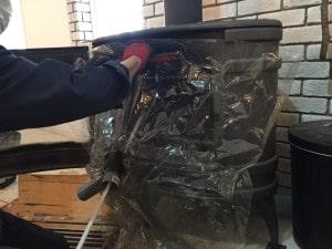 薪ストーブ煙突掃除カバー
